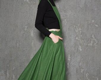 Apron dress, wool dress, green winter dress, long wool dress, warm winter dress, womens dress, handmade dress, long dress, green dress C733