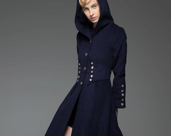 Wool coat with hood, winter wool coat, minitary coat, womens wool coat, long hooded coat, blue coat, long wool coat, winter coat C739