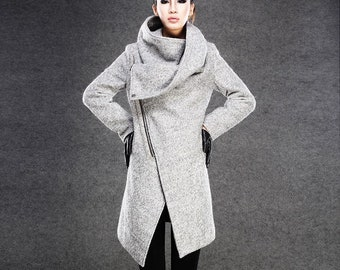 Asymmetrical Wool Coat, winter coat women, Gray Wool Boucle Coat with Front Zipper and Large Cowl Neck Collar, Autumn Winter Outerwear C134