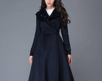 Midi wool coat, wool coat, womens winter coats, dress coat, navy blue coat, flare coat, warm coat, swing coat, made to order C1021
