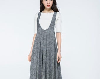Overall dress, Pinafore dress, linen dress, long dress gray, woman dress linen, plus size dress, summer dress, Pinafore dress woman C1057
