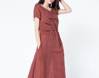 Linen dress, short sleeve dress, long linen dress, women dress, linen summer dress, casual dress, red linen dress, loose linen dress  C1085