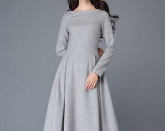 Wool Midi dress, Autumn winter wool dress, gray wool dress, boat neck wool dress, wool dress women, A Line custom Long wool dress C1026