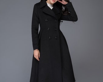 Black Wool coat, winter wool coat, black wool coat, long wool coat, woman coat, wool coat women, winter womens coat, long coat C1019