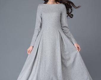 Wool dress, gray Midi wool dress, Long wool dress, Autumn winter wool dress, wool dress women, A Line custom wool dress, Ylistyle C1026