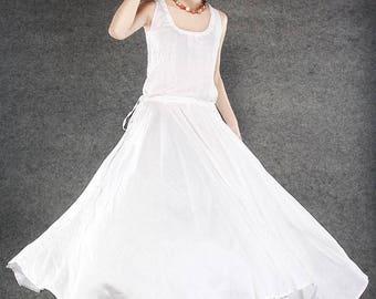White Linen dress, linen dress, white maxi dress, sleeveless dress, causal dress, womens dress, summer dress, maxi dress linen (C070)