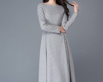 womens dress, wool dress, winter dress, gray wool dress, boat neck dress, wool dress woman, long wool dress, grey dress, day dress  C1026