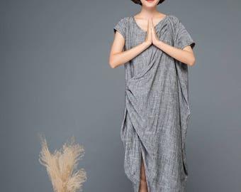 Linen dress, maxi dress, dress, asymmetrical dress, causal dress, summer dress, womens dress, loose dress, gray dress  C1147