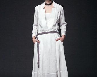 Linen Dress, woman dress, white maxi dress, white linen dress, long sleeve maxi dress, plus size dress, long dress, white dress long (C515)
