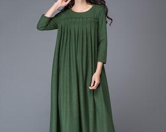 Wool dress, long wool dress, womens dress, pleated dress, dark green dress, winter dress, green wool dress, long  sleeves dress C1013