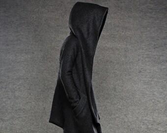 hooded coat, Pea Coat, winter coat asymmetric hooded, coat, jacket, black winter coat, hooded winter coat, womens pea coat, wool coat (C038)