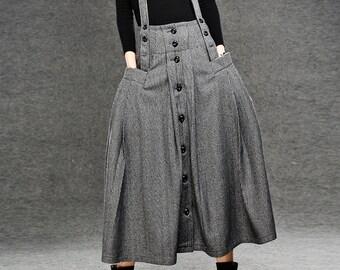 Womens skirts, Maxi skirt, Plaid skirt, Gray skirt, Elegant skirt, Wool skirt, Winter skirt, Strap skirt, Pleated skirt, Party skirt, C048