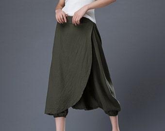 Harem pants, Linen pants, harem pants women, green harem pants, loose pants, womens pants, wide leg pants, plus size pants C855