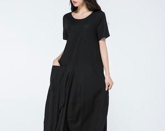 Linen dress, long linen dress, linen dress maxi, summer dress, linen dress women, black linen dress, casual dresses, oversized dress C1060
