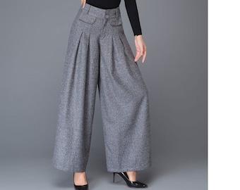 Wide Leg pants, wool pants, palazzo pants in Gray, Maxi wool pants, women's pants, Autumn winter pants, Pleated Pants, Wool clothing C1001
