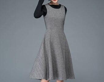 pleated dress, grey dress, wool dress, sleeveless dress, winter dress, midi dress, womens dresses, classic dress, fit and flare dress C1191