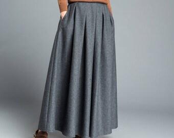 Gray skirt, winter skirt, long skirt, pleated skirt, womens skirts, wool skirt, flare skirt, swing skirt, skirt with pockets C1205