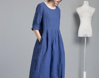 09f210160c6 Blue linen dress