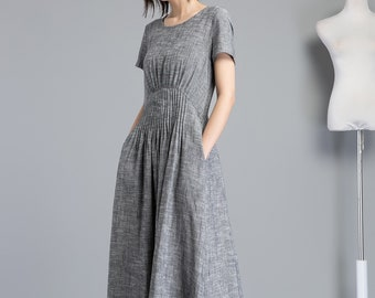 6eff141176005 Gray linen dress, long linen dress with pleated on waist, ankle length  dress for elegant women, fit and flare linen dress with pockets C1255
