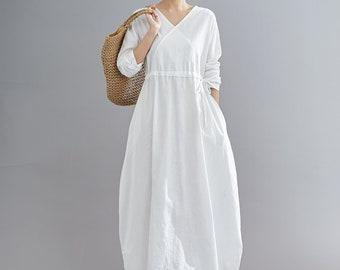 White Linen Maxi Dress, Casual Long Sleeves Maternity Dress, Loose Fit Long Robes, Plus Size dress, Pure Linen Dress, Oversized Dress C1836
