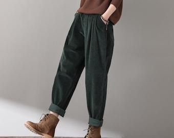 Casual Corduroy Harem Pants,  Women's Tapered Pants, elastic Waist Pants, Women trousers, women's baggy pants, Ylistyle C1814