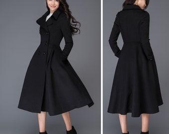 wool trench coat, long black coat, wool jacket, winter coat, Winter coat women, winter outwear, princess coat, ladies coats C1019