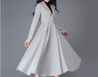 Long Wool Princess Coat, Swing wool Coat,  Fit &Flare Coat, Women's Winter Wool Coat, Winter Wedding Coat, Vintage Inspired Maxi Coat C996