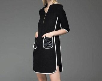 Wool Tunic dress, wool tunic, womens dress, wool dress, midi dress, vintage dress, handmade dress, black wool dress, winter dress C778