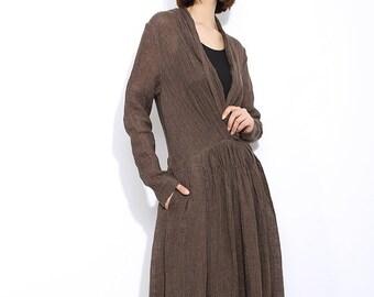 Linen dress, maxi dress, causal dress, womens dresses, dress, long dress, brown dress, linen dress for you women, linen dress pleat  C304