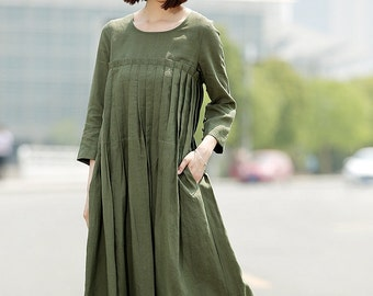 Green Linen Dress, linen dress, long linen dress, Pleated dress, loose linen dress, womens dresses, dress with pockets, plus size dress C358