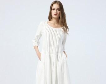 aca59c3ec16ee1 long white dress, summer linen dress for womens - loose & casual dress,  elbow sleeve dress with pleats, fashion oversized long dress C1285
