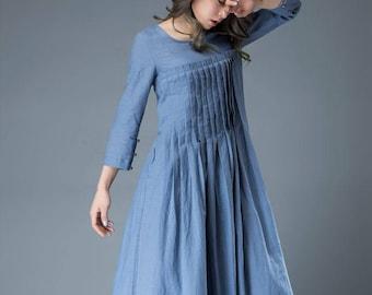Linen dress for women, Maxi dress pockets, linen dress, long linen dress, womens dresses, loose linen dress, pleated dress, blue dress C811