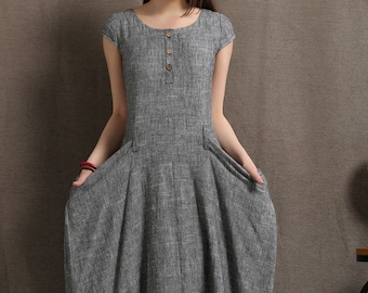 Gray Linen Dress - Long Maxi Boho Style Short Sleeved Shift Dress with Two Large Pockets Spring Summer Fashion C427