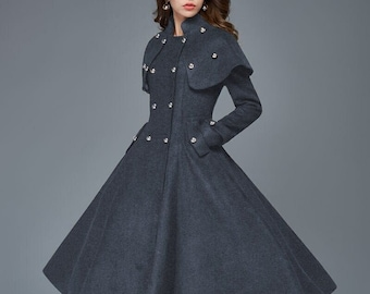 Wool Princess Coat, Double-Breasted Long Fit & Flare wool coat, Tailored Woman's Coat with Removable Cape Shoulders, Winter coat women C957