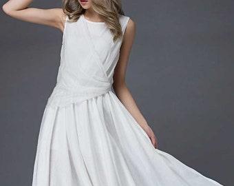 white dress women, white dress, linen dress, sleeveless dress, long white dress women, white linen dress, white prom dress  C853