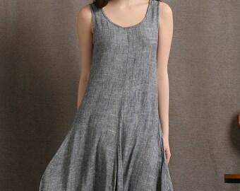 Plus size dress, linen dress, maxi dress, maxi dress grey, linen dress woman, sleeveless dress, long dress, summer dress, causal dress C417