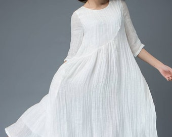 White linen dress, handmade dresses, half sleeve dress, eveyday dress, teen dress, elegant dress, loose dress, maxi dress, casual dress C820