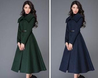 Women's  swing Wool Princess coat, Wool coat women, long jacket for winter, Long wool coat, Belted Wool maxi coat, Handmade coat C998