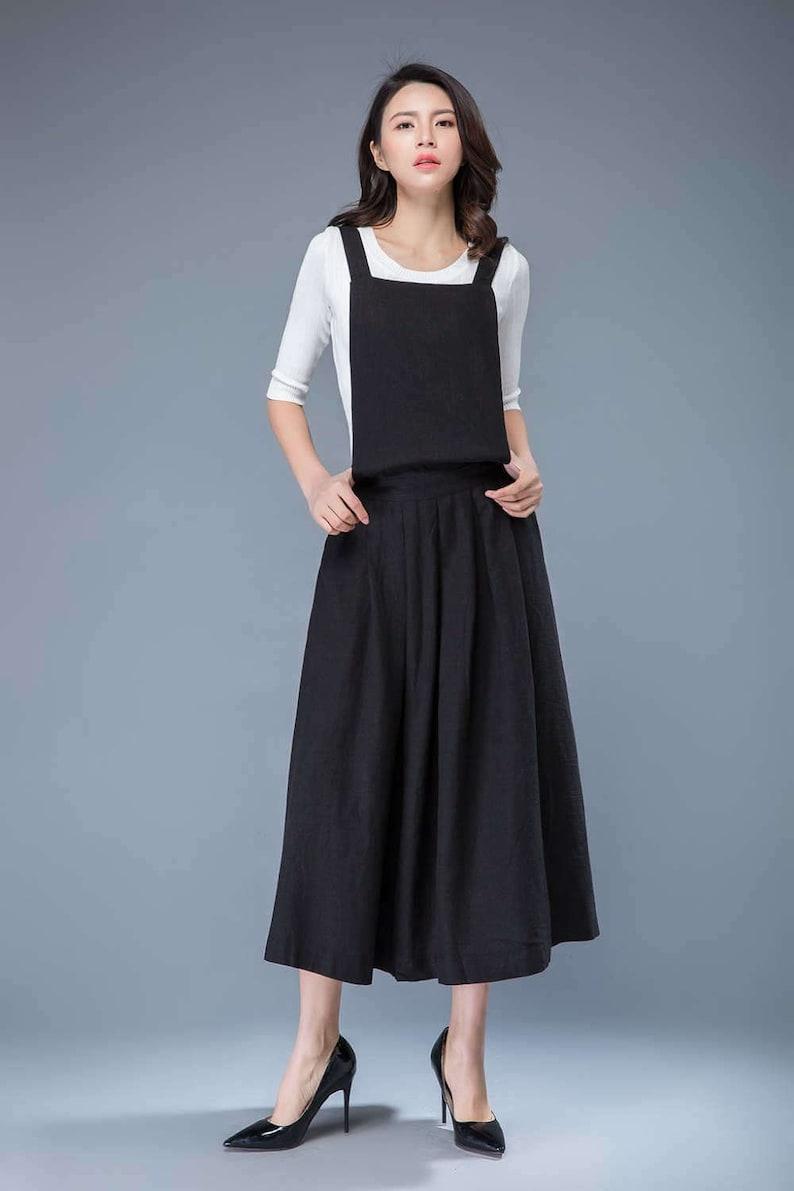 d47881c1da Black pinafore dress linen pinafore dress linen dress linen