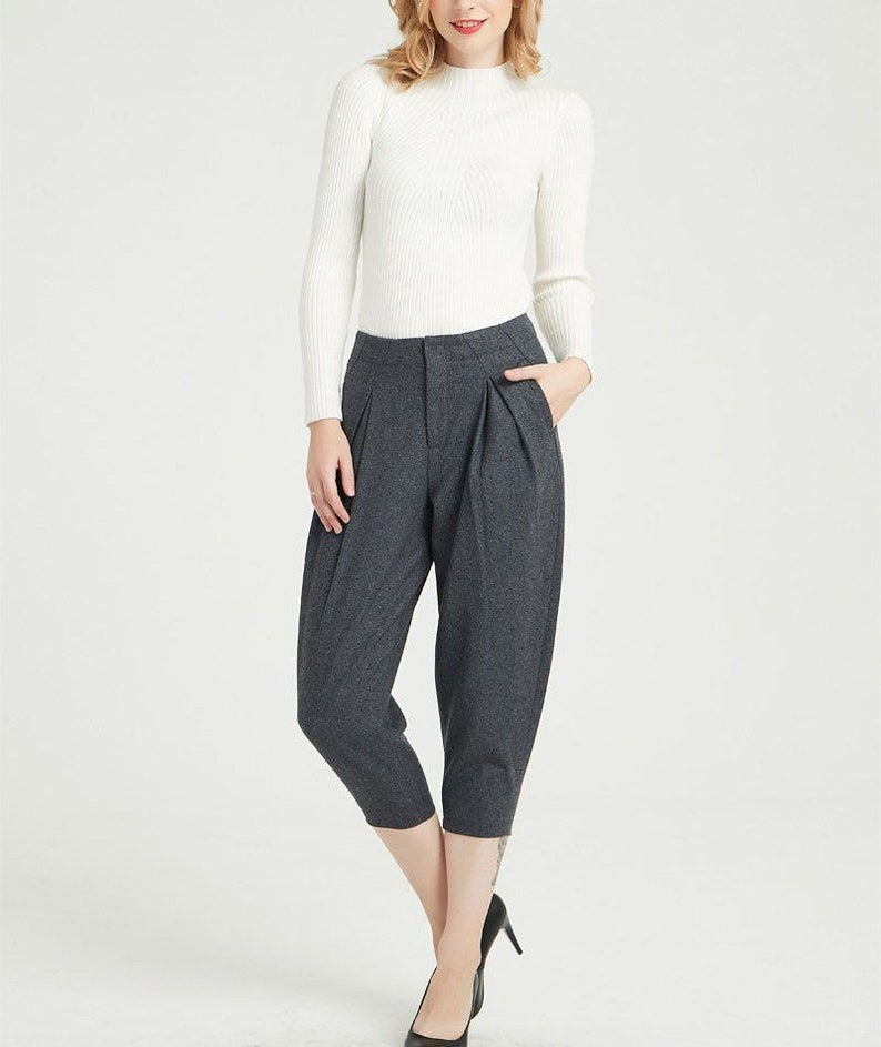 705f37593125 Gray wool pants womens pants warm pants pleated pants