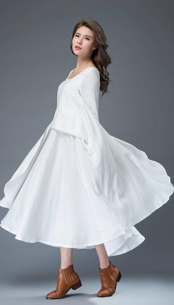 White Linen Dress Long Sleeve Dress Linen Dress Womens Etsy