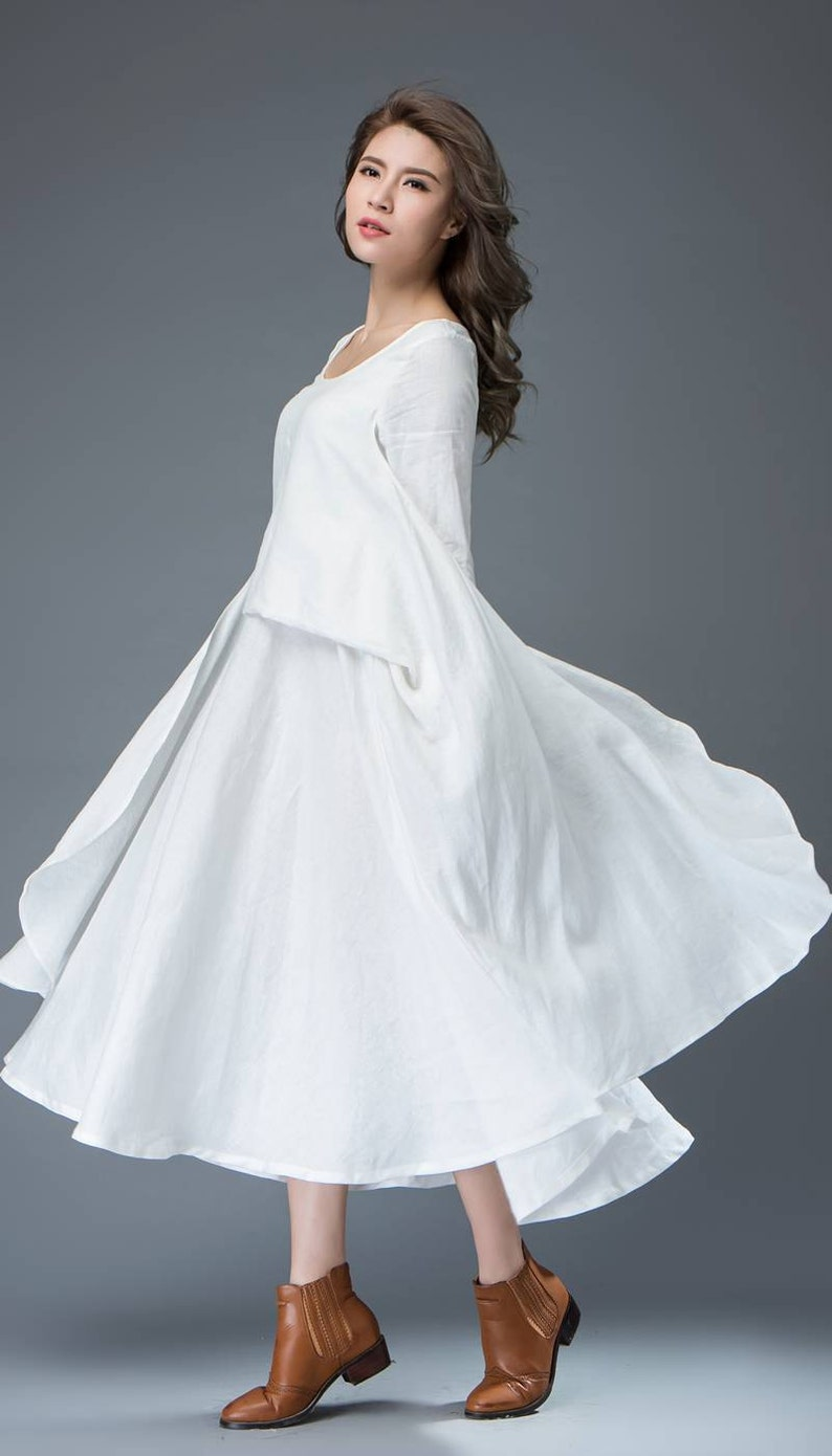 bba43c9f920b White linen dress long sleeve dress linen dress womens