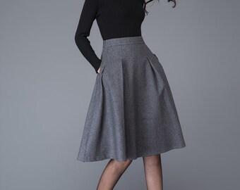 Gray skirt, wool skirt, grey skirt, midi skirt, grey wool skirt, gray midi skirt, skater skirt for women, skirt, winter skirt, skirts C1003