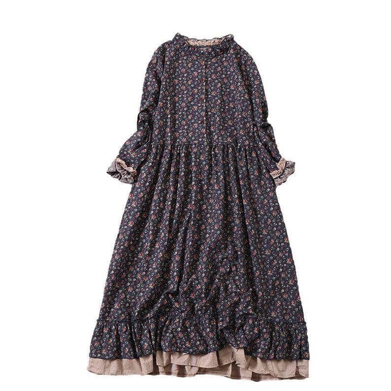 Midi DressClassic Dress Breathable Linens Floral Linen Dresses Linen Clothing Floral Dress Softened Vintage