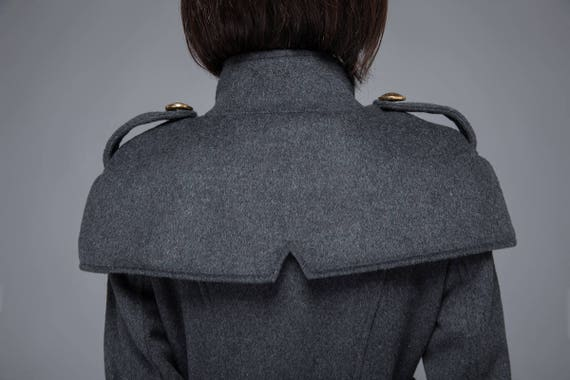 womens gray coat coat womens C1220 vintage coat wool double winter coat coat coat coat pockets long wool coat coat breasted with qZqgpv