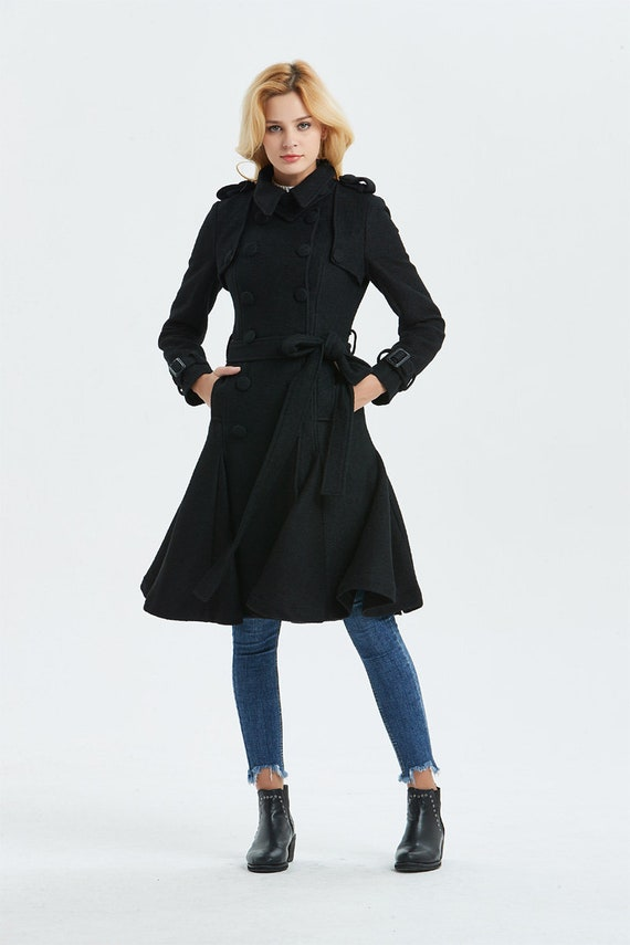 97fecc5b98 Black wool coat Warm winter coat womens coat warm coat