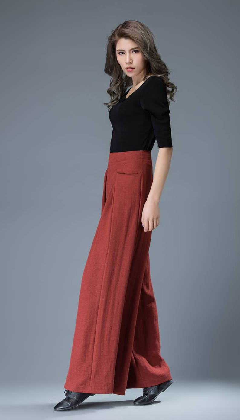 wide leg pants womens pants High waisted pants long trousers casual pants C827 linen trousers red pants pleated pants flared pants