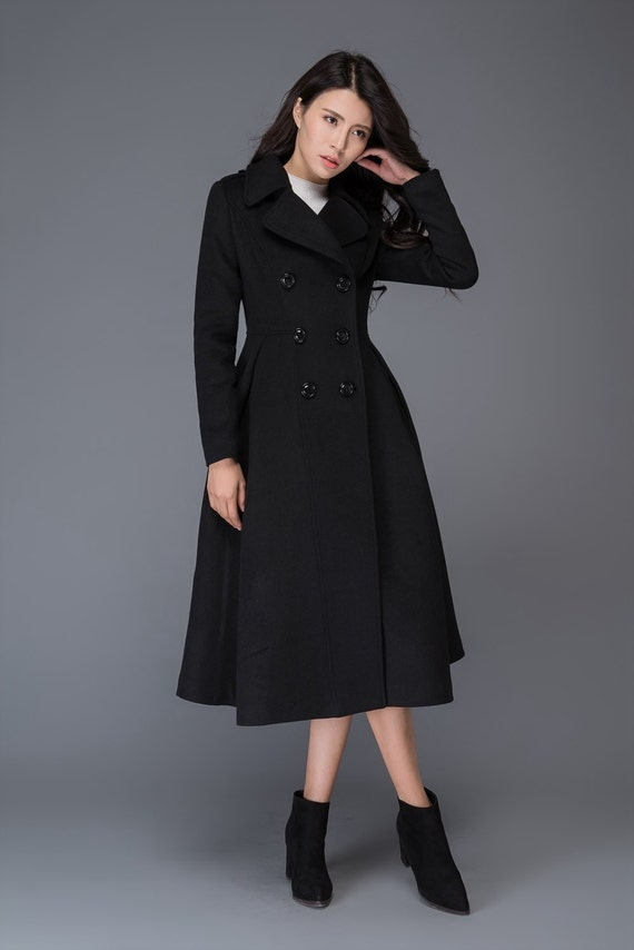 Long wool coat, long black coat, Wool coat, winter coat, Winter coat women, womens coat, princess coat, ladies coats, classic coat C1019