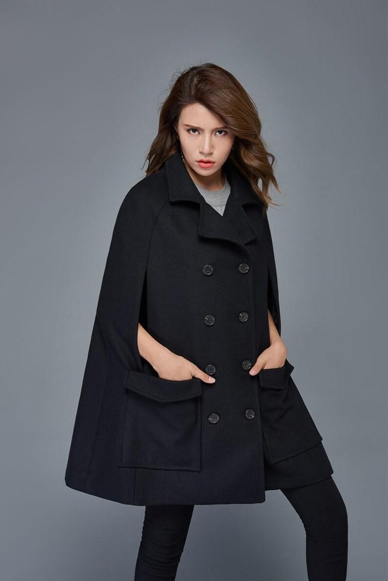 e2d7bba9903 Wool Cape womens cape winter cloak Coat black coat plus