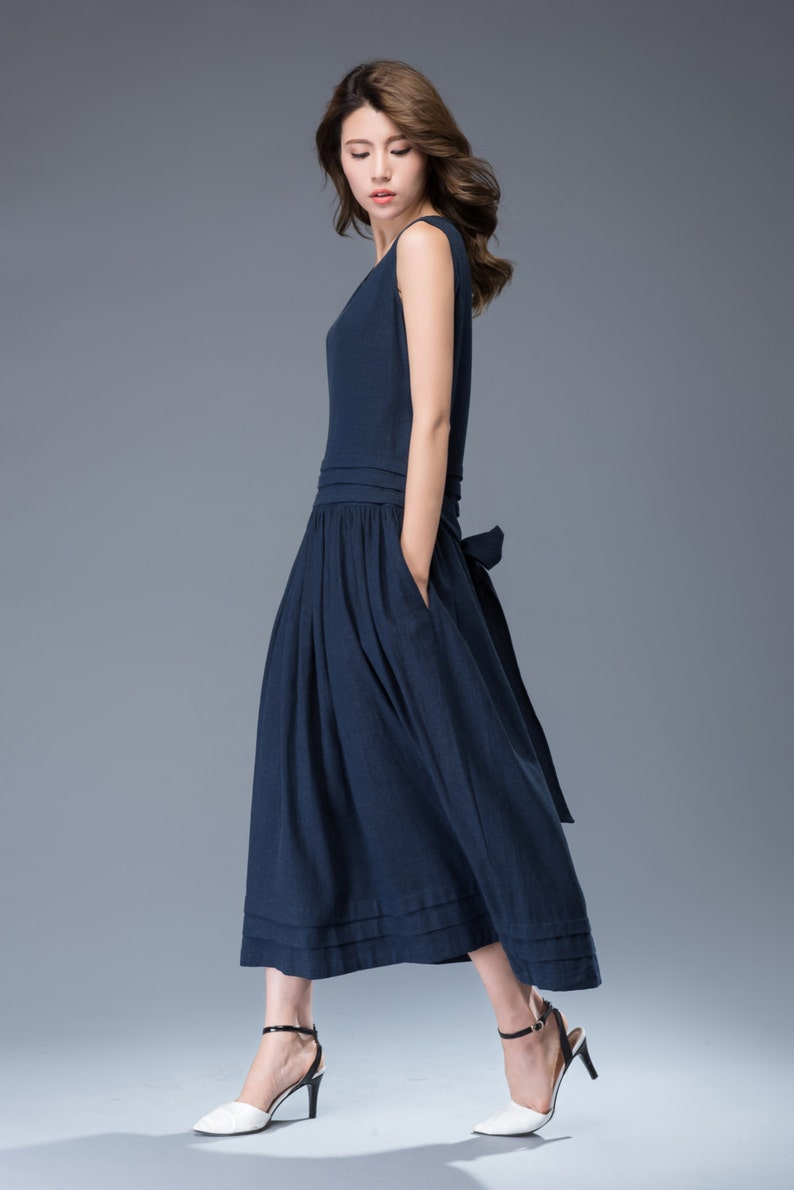 56041770b6a Linen Maxi Dress Plain Classic Navy Blue Long Sleeveless